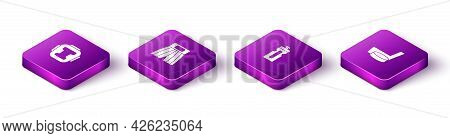 Set Isometric Boxing Helmet, Short, Fitness Shaker And Ice Hockey Stick And Puck Icon. Vector