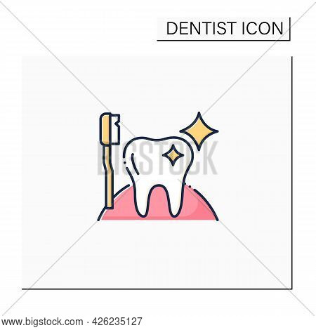 Oral Hygiene Color Icon. Healthy Tooth With Perfect Smile. Good Oral Care Concept. Timely Oral Care.