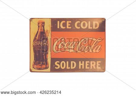 Nakhon Nayok - April 23 : Old Vintage Coca Cola Logo Isolated On White Background. Coca Cola Is The