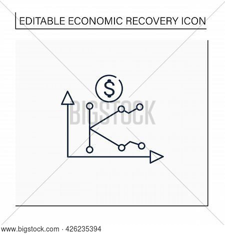 K Shaped Recovery Line Icon. Economy Fluctuations. Different Economy Parts Recover At Different Rate