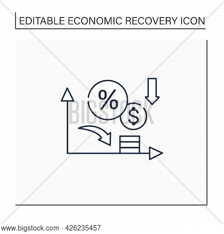 Low Interest Rates Line Icon.stimulate Economic Growth. Low Percentage To Physical And Financial Ass