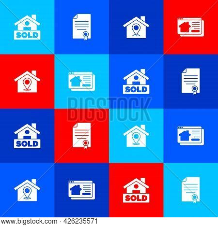 Set Hanging Sign With Text Sold, House Contract, Location House And Online Real Estate Icon. Vector