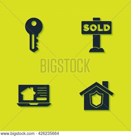 Set House Key, With Shield, Online Real Estate House And Hanging Sign Text Sold Icon. Vector