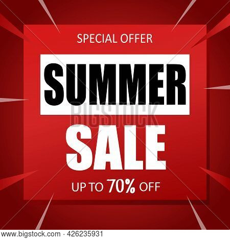 Summer Sale Banner Special Seasonal Offer Advertising Up To 70 Percent Off Discount Template Design