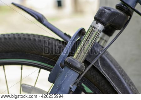 Shock Absorber Of The Front Fork Of A Sports Bike Close-up