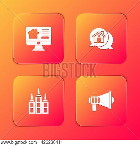 Set Online Real Estate House, Real Message, Skyscraper And Megaphone Icon. Vector