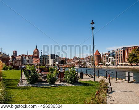 Gdansk, Poland - Sept 6, 2020: The Architecture Of The Old Gdańsk At The Fish Market / Targ Rybny/ O
