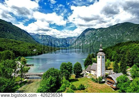 Aerial View Of Lake Bohinj The Most Famous Lake And Church In Slovenia Europe In Julian Alps Triglav