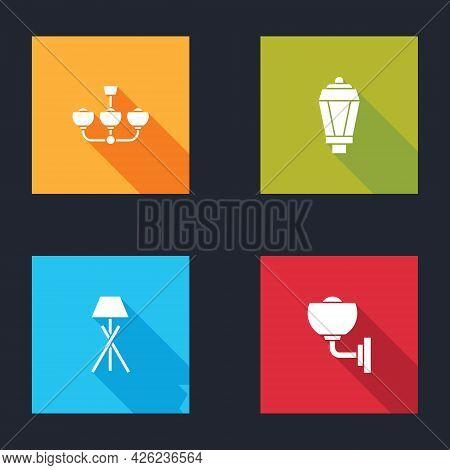 Set Chandelier, Garden Light Lamp, Floor And Wall Sconce Icon. Vector