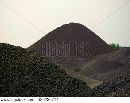 Concrete Raw Material Stock Presented At Sky Background.