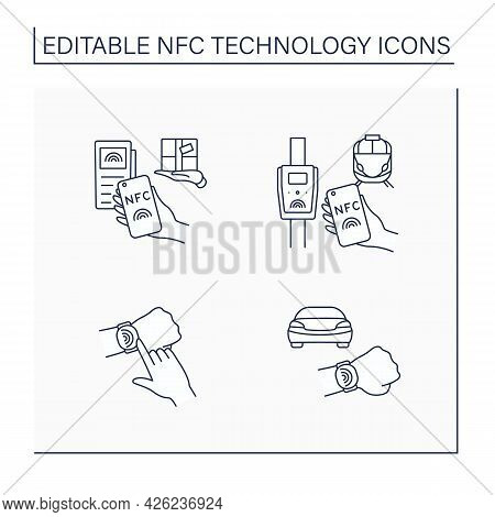 Nfc Technology Line Icons Set. Safety Payment System On Smart Watch Or Mobile Phone. Delivery, Publi