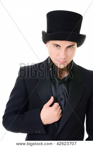 Serious Strick Man Illusionist In Black