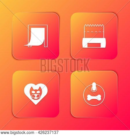 Set Door For Pet, Dog Shit In Bag, Heart With Cat And Collar Icon. Vector