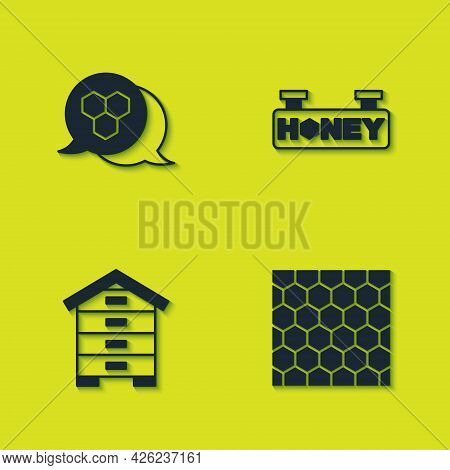 Set Honeycomb, , Hive For Bees And Hanging Sign With Honeycomb Icon. Vector