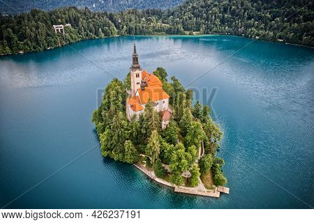 Lake Bled The Most Famous Lake With Island And Church In Slovenia Europe In Julian Alps