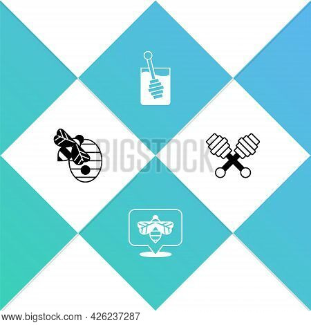 Set Hive For Bees, Bee, Honey Dipper Stick And Icon. Vector