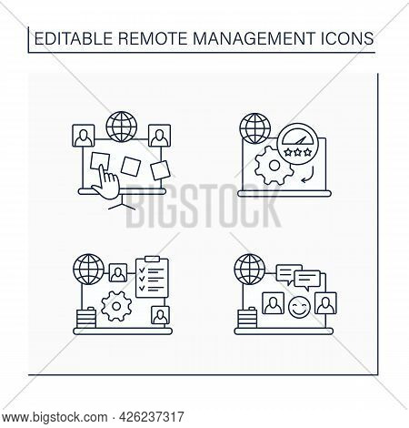 Remote Command Management Line Icons Set. Planning Board, Productivity Standards, Engagement Rules,
