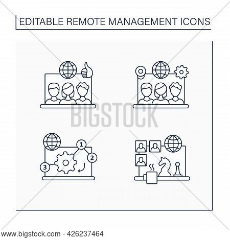 Remote Command Management Line Icons Set. Remote Working Culture, Team Tools, Manage Priorities, Tea