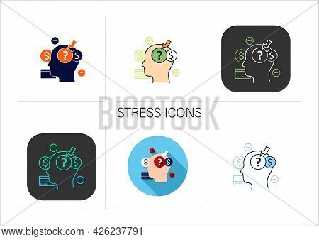 Stress Icons Set. Stressful Situation From Money Lack. Poverty. Stressful Situation. Disappointed. M