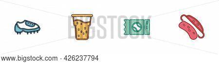 Set Baseball Boot, Glass Of Beer, Ticket And Hotdog Sandwich Icon. Vector