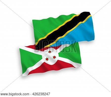 National Fabric Wave Flags Of Burundi And Tanzania Isolated On White Background. 1 To 2 Proportion.