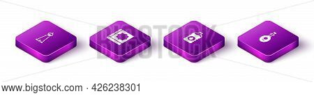 Set Isometric Mosque Tower Or Minaret, Holy Book Of Koran, Bottle Water And Lute Icon. Vector