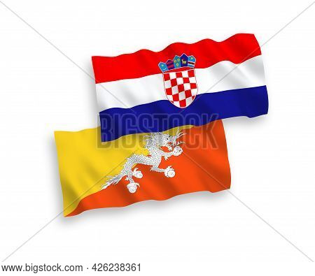National Fabric Wave Flags Of Kingdom Of Bhutan And Croatia Isolated On White Background. 1 To 2 Pro