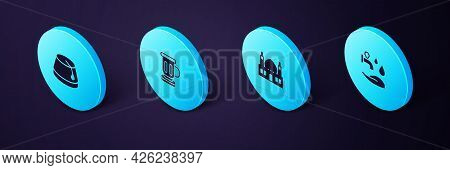 Set Isometric Wudhu, Muslim Mosque, Medieval Goblet And Turkish Hat Icon. Vector