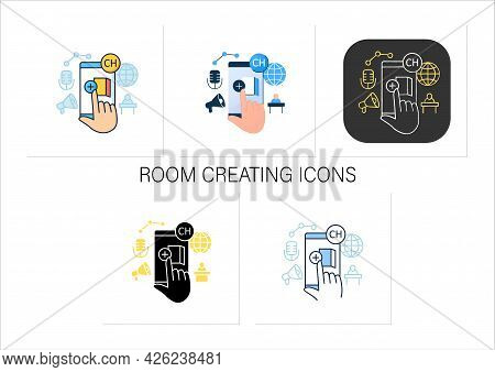 Room Creating Icons Set. Creating Own Room In App. Inviting Friends. Communication Room , Recording