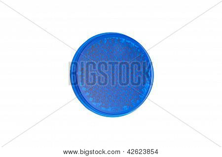 Blue round reflector isolated on white.