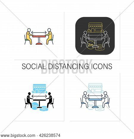 Social Distancing Icons Set.forced Distance Between People. Regulation Through Covid19. Restaurants