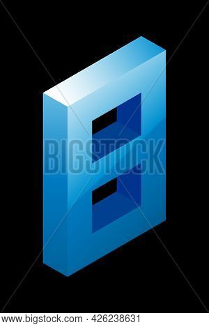Gradient Blue Number 8 In Isometric Style. Isolated On Black Background. Water Texture. Learning Num