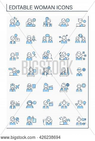 Woman Line Icons Set. Consists Of Comedian, Gamer, Dj, Invest, Film Director, Ceo, Pilot, Boss, Ange