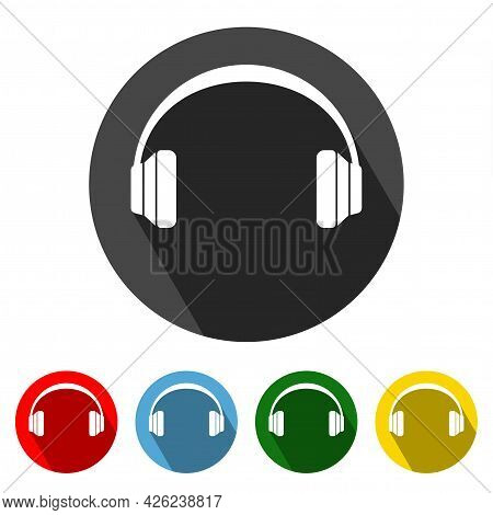 Headphone Flat Style Icon With Long Shadow. Headphone Icon Vector Illustration Design Element With F
