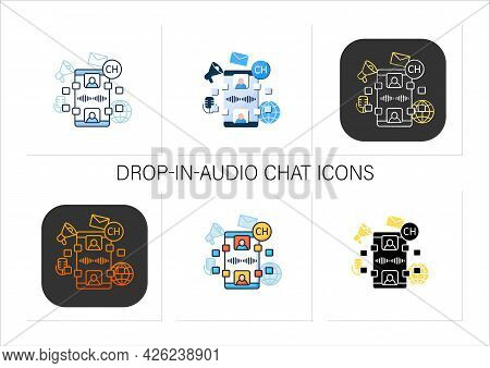 Drop In Audio Chat Icons Set. Dialogue Between People. Chatting. Communication Application With Frie