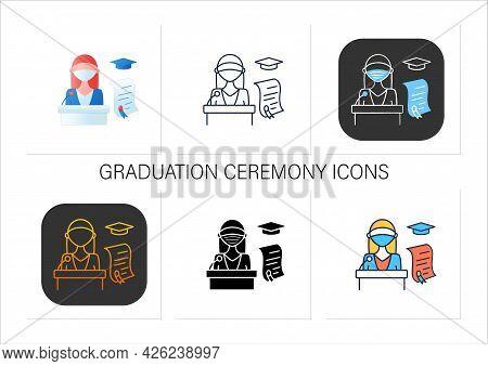 Graduation Ceremony Icons Set. Professor Gives Students Education Documents. Motivation Speech. Dipl