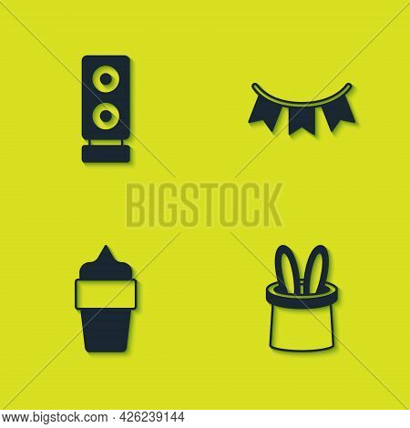 Set Stereo Speaker, Magician Hat And Rabbit Ears, Ice Cream In Waffle Cone And Carnival Garland With