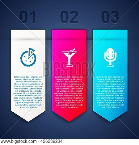 Set Homemade Pie, Martini Glass And Microphone. Business Infographic Template. Vector