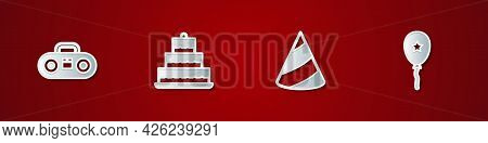 Set Home Stereo With Two Speakers, Cake Burning Candles, Party Hat And Balloon Ribbon Icon. Vector