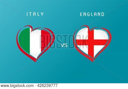 Italy Vs England Flag Emblem. Letters Versus Sign For Football Competition Championship Final Italia