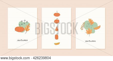 Set Of Autumn Mood Abstract Greeting Card Templates With Different Shapes Pumpkins, Leaves And Geome