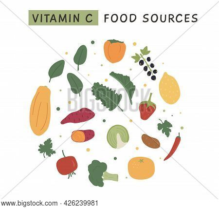 Set Of Vitamin C Foods For Healthy Diet. Circle Composition With Fruits And Vegetables Enriched With