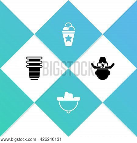 Set Paper Glass, Western Cowboy Hat, Ice Cream In Waffle Cone And Sheriff Icon. Vector