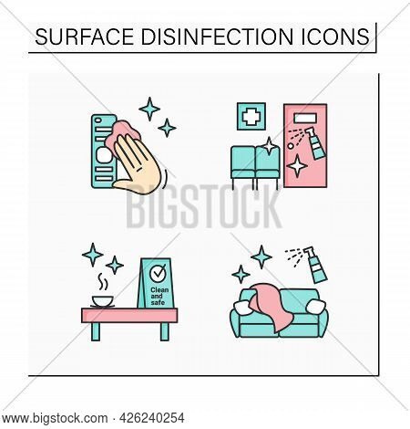 Surface Disinfection Color Icons Set. Tv Remote, Couch, Clinic And Cafe Disinfection. Safety Space A