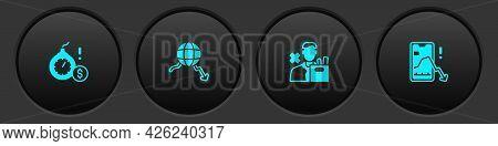 Set Money Bomb Dollar Crisis, Global Economic, Employee Dismissal And Mobile Stock Trading Icon. Vec