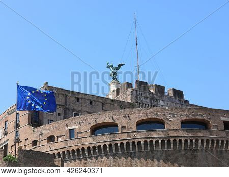Rome, Rm, Italy - August 16, 2020: Ancient Monument Called Castel Saint Angel With European Flag And