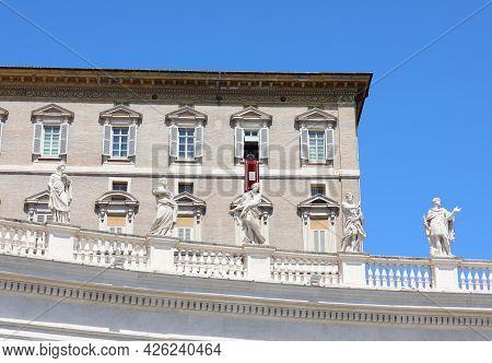 Vatican City, Va, Vatican - August 16, 2020: Pope Francis During Sunday Angelus  In Saint Peter Squa
