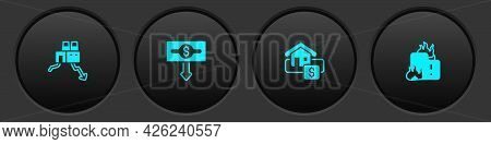 Set Shutdown Of Factory, Dollar Rate Decrease, Hanging Sign With Sale And Fire Burning House Icon. V