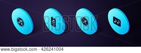 Set Isometric Music Note, Tone, Mute Microphone, Player And Speaker Mute Icon. Vector