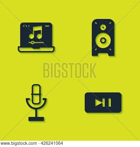 Set Laptop With Music, Pause Button, Microphone And Stereo Speaker Icon. Vector